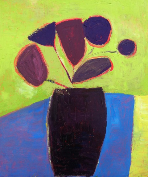 Jill Finsen - Vased Blooms on Blue Table - 2013.jpg
